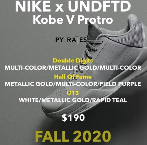UNDEFEATED x Nike Kobe 5 Protro осенью 2020 года выпустят три расцветки