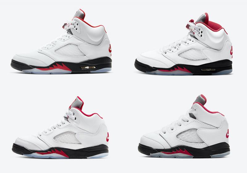 Air Jordan 5 'Fire Red' появятся в мае 2020 года в размерной сетке для всей семьи