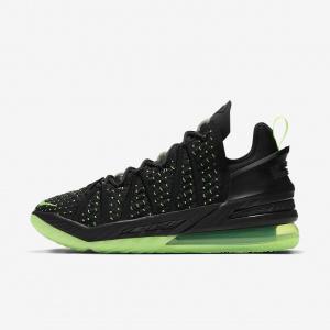 """Баскетбольные кроссовки LeBron 18 """"Black/Electric Green"""" - Черный"""
