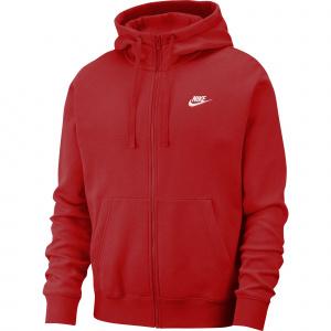Мужская худи с молнией во всю длину Nike Sportswear Club Fleece - Красный