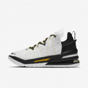 "Баскетбольные кроссовки LeBron 18 ""White/Black/Gold"" - Белый"